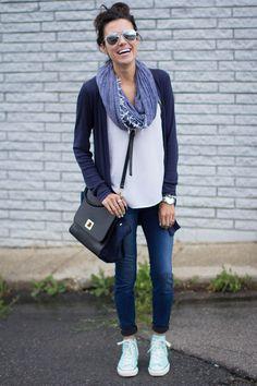 Blue Rain: Jersey Cardigan • Skinny Jeans • White Shirt• Blue Scarf • Black Bag • Mint Chuck Taylors