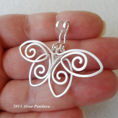 CHARMING BUTTERFLY PENDANT - Handmade Jewelry Wire Wrapped Wirework Silver Plated Wire Hammered - The Perfect Gift For Any Occasion