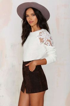 Nadia Organza Patch Sweater - White - Pullover