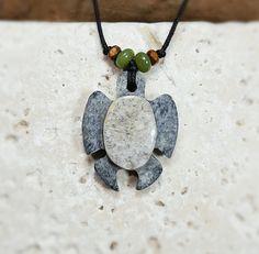 Beach Rock Sea Turtle Necklace turtle pendant carved stone pendant rock art…