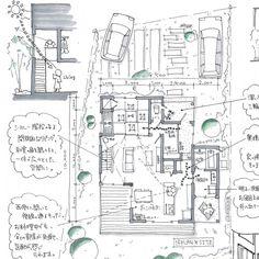 mioさんはInstagramを利用しています:「吹抜け階段のある家。 ✳︎ リビングに大きな吹抜けがあり、二階からもリビングを明るくしてくれます。 南北に風が通るように、和室北側にも大きな窓があります。 ✳︎ ✳︎ ✳︎ リビング続きの和室があり、床の間もあるので、節句の飾りもそこに置いていただけます。 ✳︎…」 Architecture Images, Architecture Details, Architect Design, Portfolio, House Plans, Floor Plans, Diagram, House Design, How To Plan