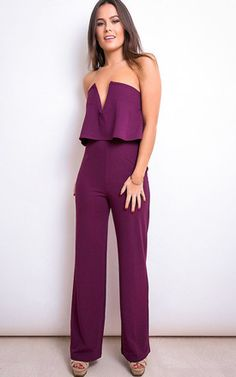 39f3eeadc6bb Alice Bandeau Double Layer Jumpsuit Plum Playsuits