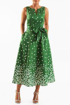 I <3 this Polka dot print dupioni midi dress from eShakti