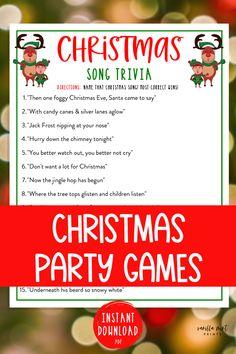 Christmas Song Trivia Game | Christmas Music Trivia Printable Games | Christmas Day | Fun Holiday