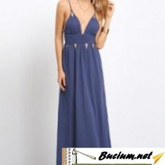 Blue Pleated Cut Out Criss Cross Backless Maxi Dress