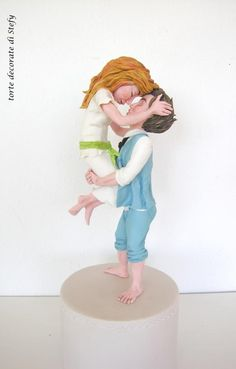 married couple by Torte decorate di Stefy by Stefania Sanna Gravity Defying Cake, Gravity Cake, Happy Wedding Anniversary Wishes, Anniversary Cakes, Polymer Clay People, Cake Decorating For Beginners, Free To Use Images, Baking And Pastry, Fondant Figures