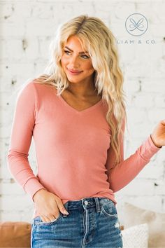 We love a good thermal top and our Salina V-Neck Thermal, does not disappoint! It features long sleeves, a v-neckline, and a tighter fit. The soft stretchy fabric makes it easy to move around in and such a comfortable choice! With so many color options to choose from, you're sure to find one that you love!