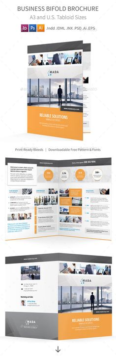 Buy Business Bifold / Halffold Brochure by Mike_pantone on GraphicRiver. Business Print Bundle is also available.Business Bifold / Halffold Brochure Clean and modern bi-fo. Bi Fold Brochure, Brochure Layout, Corporate Brochure, Brochure Design, Brochure Template, Business Brochure, Leaflet Design, Booklet Design, Free Background Patterns