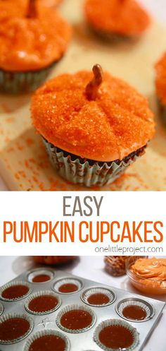 This method of decorating pumpkin cupcakes is SO EASY! You can use your favourite cupcake recipe, or if you are short on time (I'm always short on time…) you can just use a box of cake mix. Make them in a few different sizes and you'll end up with your very own cupcake pumpkin patch. I love decorating methods that are easy, quick and totally doable for beginners! Cupcake Recipes, Dessert Recipes, Homemade Apple Butter, Pumpkin Cupcakes, Fall Desserts, Pumpkin Decorating, Muffin, Sweets, Box