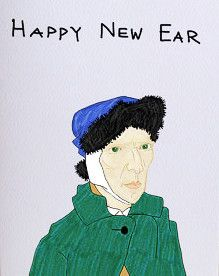 Happy New Ear Greeting Card http://shop.nylon.com/collections/whats-new/products/filthy-animal-christmas-greeting-card #NYLONshop