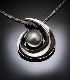 Tahitian pearl, statement necklace, black pearl, June birthstone, Argentium silver pendant, artisan jewelry, gemstone jewelry - 3329