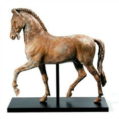 Ceramic Giraffe Figurine | Brown Stone Horse Statue by Intrada Italy