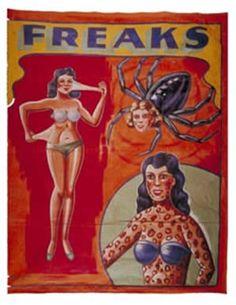 Circus freaks poster from the 1930's. #CircusTattoos #VintageTattoos #TattooHistory #VanishingTattoo