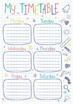 Timetable Template, Notes Template, Collage Template, Planner Template, School Template, Schedule Templates, Bullet Journal Books, Bullet Journal Ideas Pages, Planner Pages