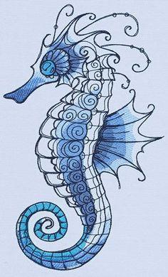 Ocean Blue - Seahorse_image Mores Seahorse Drawing, Seahorse Tattoo, Seahorse Art, Seahorses, Seahorse Painting, Ocean Drawing, Watercolor Painting, Tattoo Fish, Watercolor Ocean