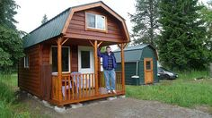 The cabin in Washington state is 10ft wide and 20ft long, has a 6ft porch, a 10 X 14 ft living space and two 10 X 6 ft sleeping lofts reached by custom built wood ladder. The cabin is a 2 X 6 construction, is R-21 insulated in the walls and ceilings, and is finished with cedar inside with a 3/4 inch redwood laminate flooring. The floor is insulated as well. Cost:  Land $13k, Cabin $10.5k, Shed $1k...so with clearing the land, gravel foundations, etc the total cost: $27000.  Awesome!