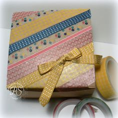 Washi tape and ribbon dress up a Kraft box. I filled mine with love notes - see them all at stampsnsmiles.blogspot.com