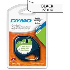 """Dymo LetraTag 10697 Paper Tape - 0.50"""" Width x 13 ft Length - 2 / Pack - Paper - Direct Thermal - White"""