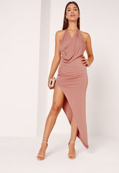 Slinky Drape Asymmetric Maxi Dress Pink