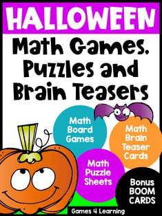 This collection of math printables is loaded with fun Halloween math games and activities. These are perfect for October math activities and they are the ideal way to celebrate Halloween in the classroom. It includes printable math board games, printable math puzzle sheets and math brain teaser cards. And there is also 2 Bonus Decks of Boom Cards included. Ideal for first, second and third grade! These fun Halloween math activities will keep them busy and engaged! Math Board Games, Fun Math Games, Math Activities, Third Grade Math Games, Second Grade, Printable Math Games, Printables, Halloween Math Worksheets, Thanksgiving Math