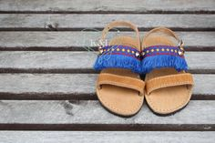 Fringe Children's Greek Summer Leather Sandals  by KandElphy