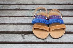 Fringe Children's Greek Summer Leather Sandals  by KandElphy