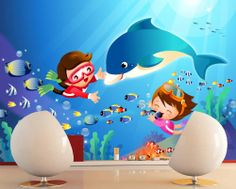 Children Playing Under The Sea Kids' Room Wall Mural #Onlymurals