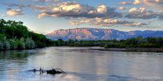 the Rio Grande and Sandia mountains, Albuquerque, NM.
