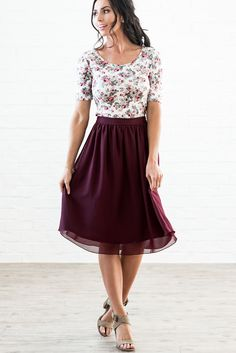 Gorgeous, so feminine & knee-length -- it's the perfect skirt! Great choice for LDS Sister Missionaries. Modest Skirts: Chiffon A-Line Skirt in Burgundy, $44.99 #femininefashion,