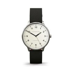 The Blip   Newgate Watches   A black leather watch designed with a fusion of retro and contemporary style. A slim vintage stainless steel case and graphic Arabic dial are paired with a black leather strap.
