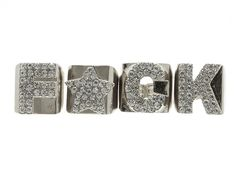 Ring Stretch Metal Crystal Stone Paved Message Fuck 4 Pcs 3/4 Inch Tall