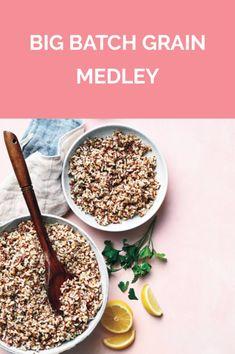 Get the recipe for Big Batch Grain Medley. Gf Recipes, Side Dish Recipes, Veggie Recipes, Vegetarian Recipes, Cooking Recipes, Healthy Recipes, Quinoa Side Dish, Reactive Hypoglycemia, Salad Wraps