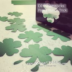 DIY Shamrocks: Happy St Patrick's Day - a Pansy Punch Art Trick from LovenStamps