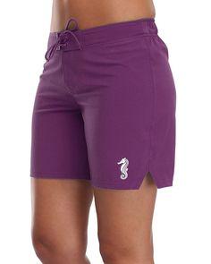 c57521d209867 Women's Solid Board Shorts Swim Trunks Beach Boardshorts Swimwear - Purple  - CC183Q24DTA