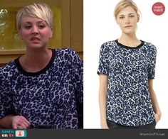 Penny's blue leopard print tee on The Big Bang Theory.  Outfit Details: http://wornontv.net/39761/ #TheBigBangTheory /  Lynx Print Crepe de Chine Tee by Rebecca Taylor