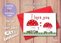 Valentine card romantic greeting card anniversary card i love you anniversary card missing you card valentine card romantic greeting card cute love card red mushroom card for girlfriend funny card m4hsunfo