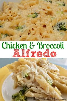 Baked Chicken Broccoli Alfredo is an easy to make ahead weeknight dinner that's fast and healthy. #chickenalfredo #chickenandbroccoli