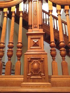Hand  carved jacobean staircase details. Morozov mansion.