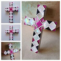 Teen Room Decor, fuchsia black white wall cross, Christian Cross, Confirmation Gift, Keepsake, Baptism Gift Girl or Boy, Godchild Gift