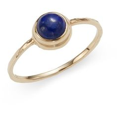 Anzie Classique Round Lapis & 14K Yellow Gold Ring (195 AUD) ❤ liked on Polyvore featuring jewelry, rings, gold rings, gold fine jewelry, yellow gold rings, 14k yellow gold ring and gold band ring