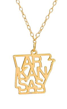 Show your State Pride with this Kris Nations graphic Arkansas Necklace. Each State pendant is cut from recycled sheets of metal with your choice of Sterling Silver overlay or 14k Gold overlay. Pendant is approximately 1 inch square. 18″ chain necklace. Ships in our gift ready glass bottle packaging. Each State Pride pendant design is a registered copyright of Kris Nations. #arkansas #razorbacks #hogs #woopigsooie #pigs #hawgs #usa #arkansasstate #uca #SEC #football #secfootball
