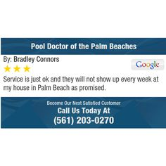 Service is just ok and they will not show up every week at my house in Palm Beach as...
