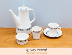 Figgjo Flint Coffee Set - Buy yay retro Handmade Crochet online - Arts & Crafts Shop, crochet shawls, wraps, blankets, hot water bottle covers and vintage textile cushions. Coffee Set, Craft Shop, Vintage Textiles, Vintage China, Diamond Pattern, Crochet Shawl, Tea Pots, Arts And Crafts, Norway
