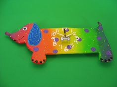 whimsical clock | Wiener Dog clock, Whimsical Wall Hanging Dog Clock,Glow in the Dark ...
