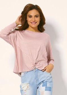 Prúžkované tričko s ozdobným uzlom #ModinoSK #pink #pastel