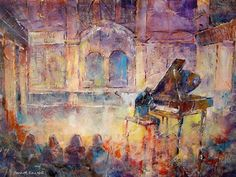 Piano Concert / Recital - Orchestra & Music Collection - Piano Player (Grand Piano) Painting by Horsell Woking Surrey Artist Sera Knight