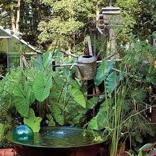 Low bowl water basin | Small space water feature ideas | www.ContainerWaterGardens.net