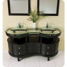 #Modern #BathroomVanity #TemperedGlass #DoubleSink  #Counter