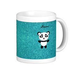 Personalized name panda turquoise glitter mug Create your own Personalized with a name,monogram, or initials or saying cartoon cute cartoon panda bear with heart eyes with faux turquoise glitter background...