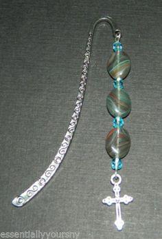 Blue Swarovski Crystal Glass Beaded Silver Bookmark with Cross Charm New   eBay